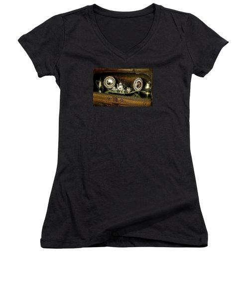 Antique Tea Set Women's V-Neck T-Shirt (Junior Cut) by The Art of Alice Terrill
