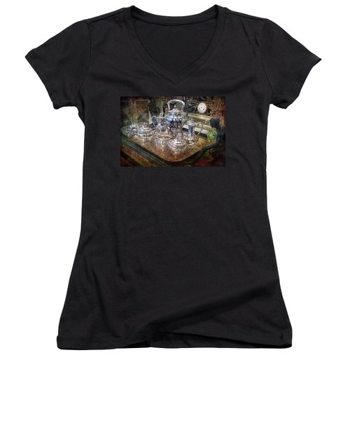 Antique Tiffany Sterling Silver Coffee Tea Set Women's V-Neck T-Shirt