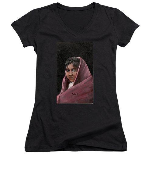 Apache Girl Women's V-Neck T-Shirt