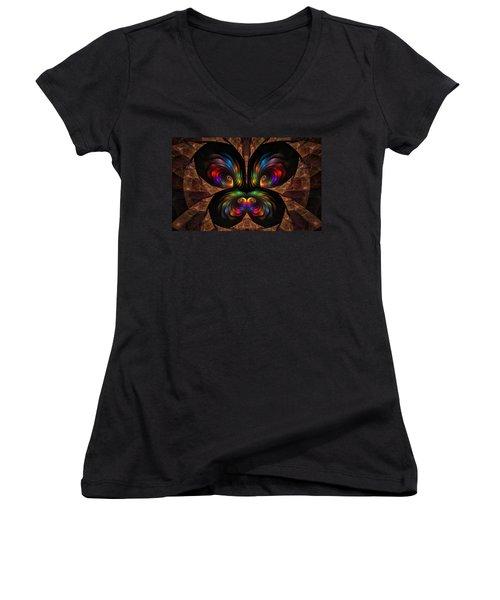 Women's V-Neck T-Shirt (Junior Cut) featuring the digital art Apo Butterfly by GJ Blackman