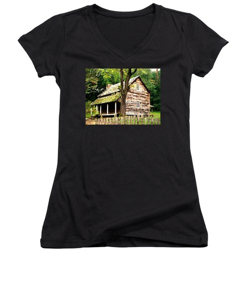 Women's V-Neck T-Shirt (Junior Cut) featuring the painting Appalachian Cabin by Desiree Paquette