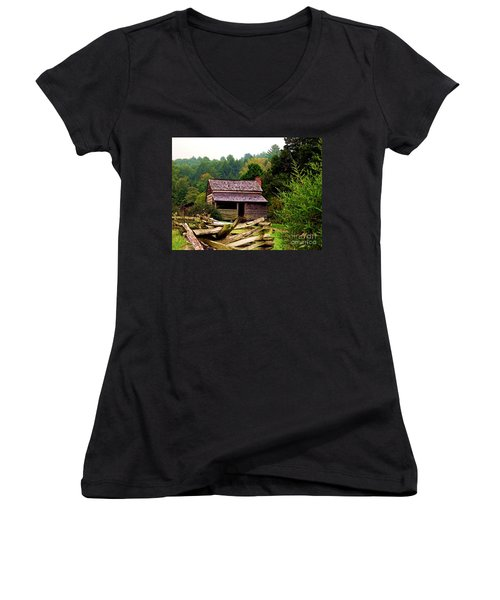 Appalachian Cabin With Fence Women's V-Neck T-Shirt (Junior Cut) by Desiree Paquette