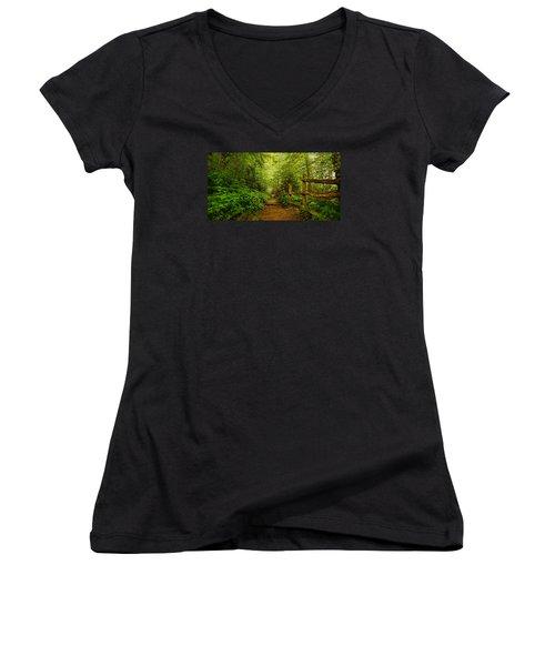 Appalachian Trail At Newfound Gap Women's V-Neck T-Shirt (Junior Cut) by Stephen Stookey