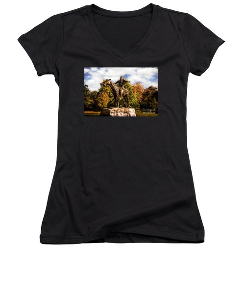 Appeal To The Great Spirit Women's V-Neck T-Shirt (Junior Cut) by Tamyra Ayles