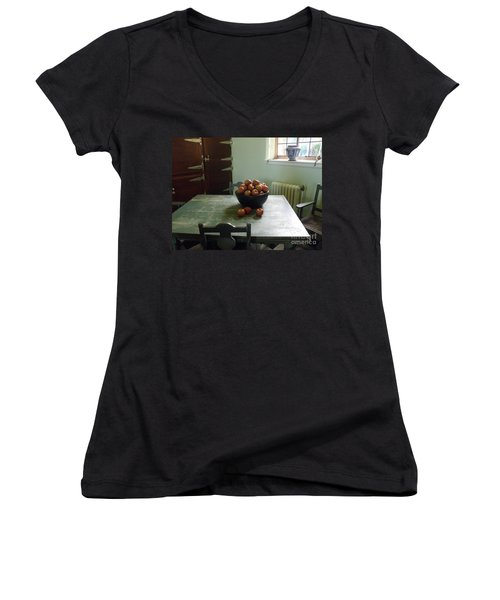 Women's V-Neck T-Shirt (Junior Cut) featuring the photograph Apples by Valerie Reeves