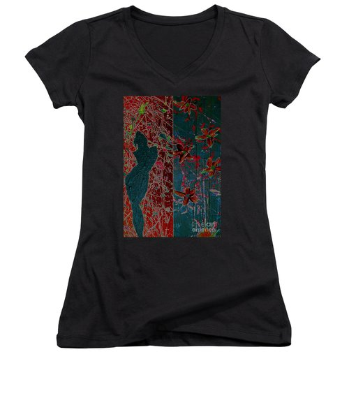 April Showers/ May Flowers Women's V-Neck T-Shirt (Junior Cut) by Jacqueline McReynolds