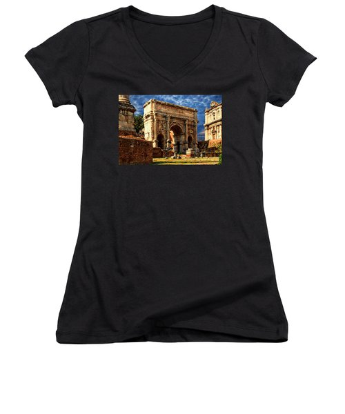 Arch Of Septimius Severus Women's V-Neck