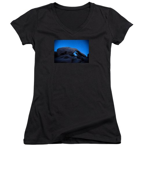 Arch Rock Starry Night 2 Women's V-Neck T-Shirt (Junior Cut) by Stephen Stookey