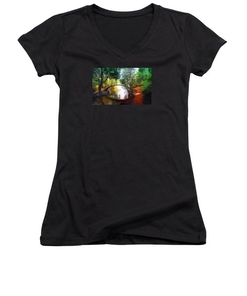 Women's V-Neck T-Shirt (Junior Cut) featuring the painting Arched Bridge Over Brilliant Waters by LaVonne Hand