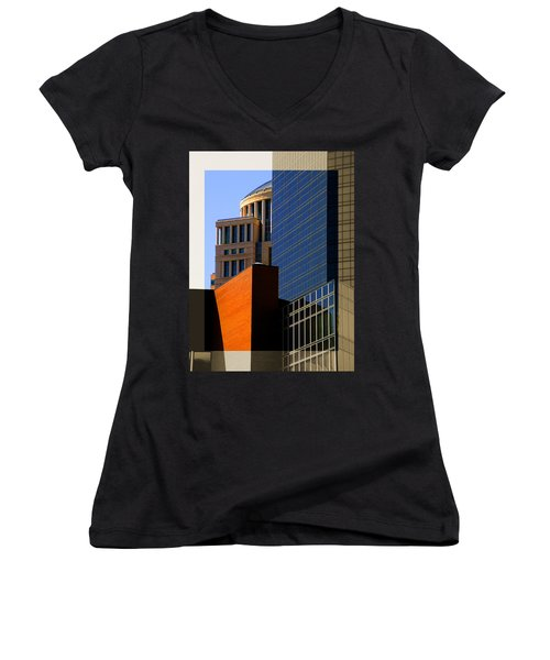 Architectural Stone Steel Glass Women's V-Neck