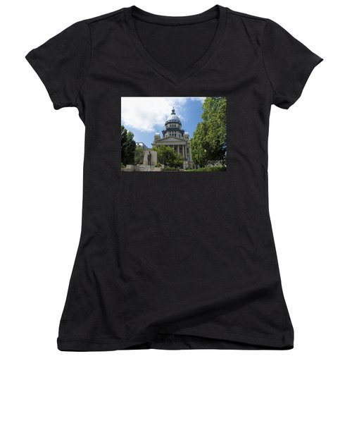 Architecture - Illinois State Capitol  - Luther Fine Art Women's V-Neck T-Shirt (Junior Cut) by Luther Fine Art