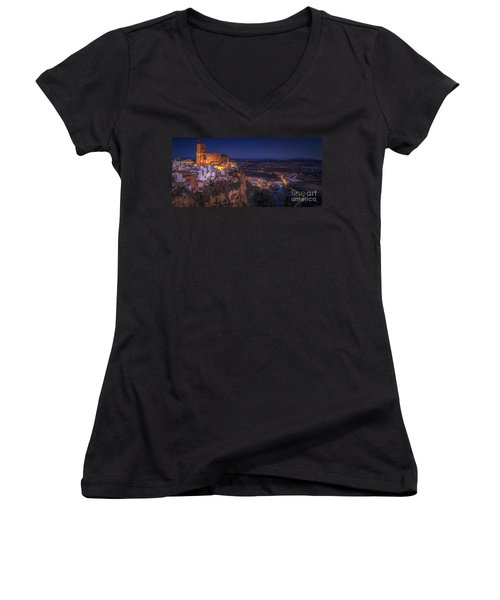 Arcos De La Frontera Panorama From Balcon De La Pena Cadiz Spain Women's V-Neck (Athletic Fit)