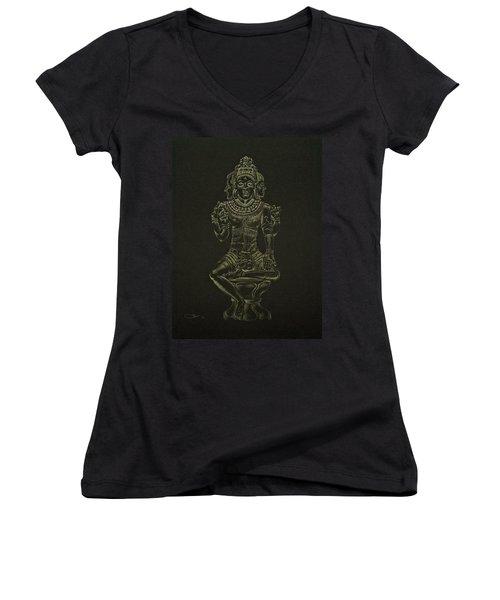 Women's V-Neck T-Shirt (Junior Cut) featuring the drawing Ardhanarishvara I by Michele Myers