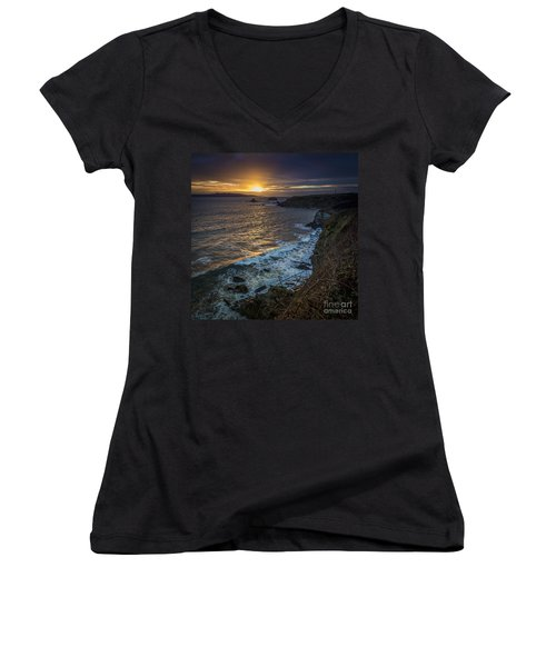 Ares Estuary Mouth Galicia Spain Women's V-Neck (Athletic Fit)