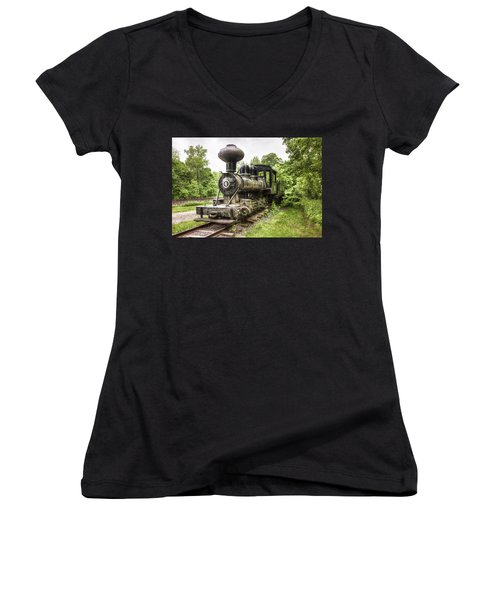 Women's V-Neck T-Shirt (Junior Cut) featuring the photograph Argent Lumber Company Engine No. 4 - Antique Steam Locomotive by Gary Heller