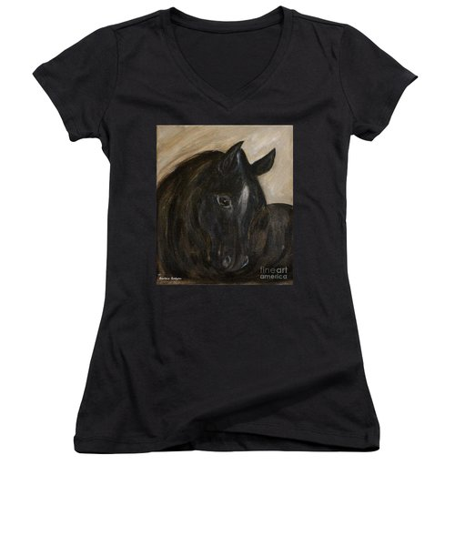 Women's V-Neck T-Shirt (Junior Cut) featuring the painting Arion by Barbie Batson