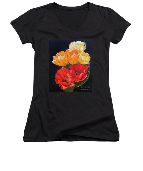 Arizona Blossoms - Prickly Pear Women's V-Neck (Athletic Fit)