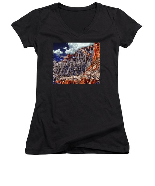 Arizona Secret Mountain Wilderness In Winter Women's V-Neck (Athletic Fit)