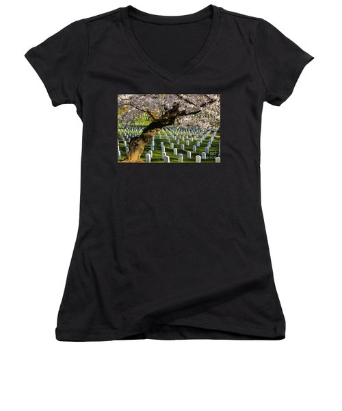 Arlington National Cemetary Women's V-Neck (Athletic Fit)