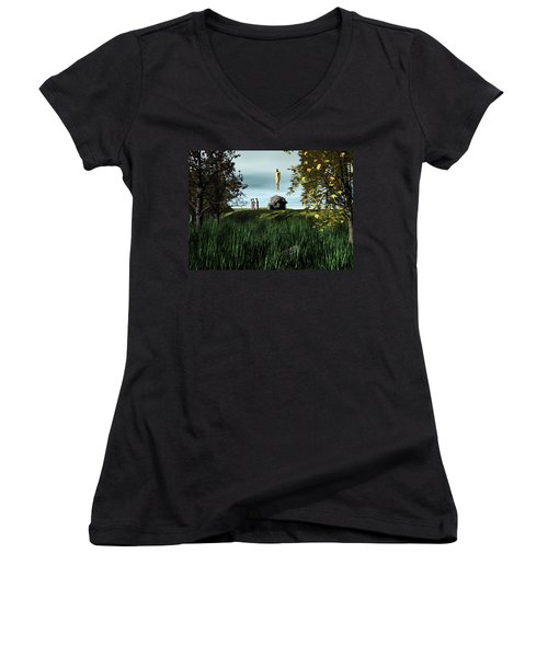 Women's V-Neck T-Shirt (Junior Cut) featuring the digital art Arrival Of The Deceiver by John Alexander