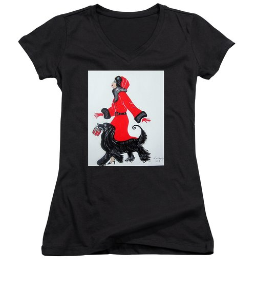Art Deco  Girl With Red  Coat Women's V-Neck (Athletic Fit)