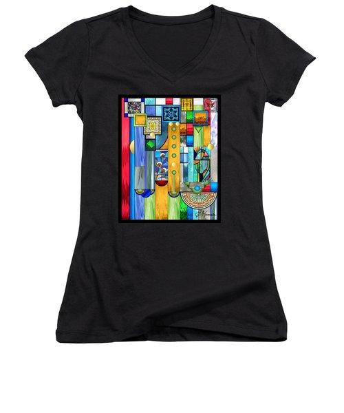 Art Deco Stained Glass 1 Women's V-Neck T-Shirt (Junior Cut) by Ellen Henneke