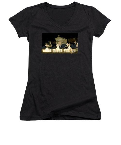 Louisiana Midnight Cemetery Lacombe Women's V-Neck T-Shirt (Junior Cut) by Luana K Perez
