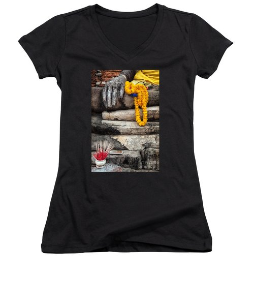 Asian Buddhism Women's V-Neck (Athletic Fit)