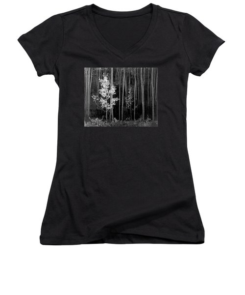 Aspens Northern New Mexico Women's V-Neck T-Shirt (Junior Cut) by Ansel Adams