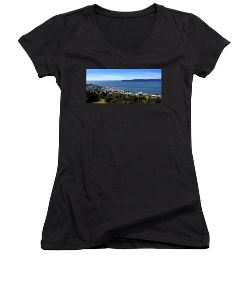 Aaron Berg Women's V-Neck T-Shirt (Junior Cut) featuring the photograph Astoria Oregon by Aaron Berg
