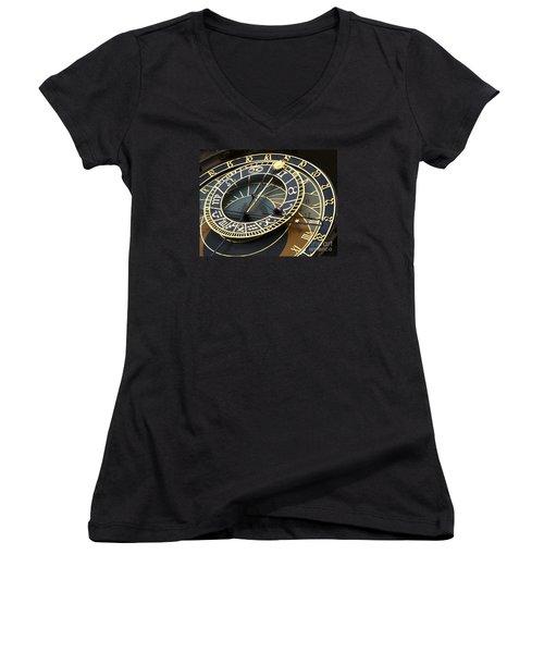 Astronomical Clock Women's V-Neck T-Shirt