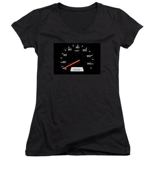 Women's V-Neck T-Shirt (Junior Cut) featuring the photograph At A Milestone by Andrew Soundarajan