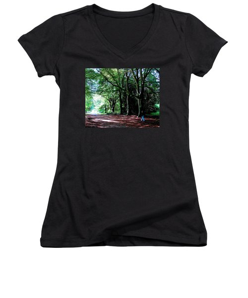 Women's V-Neck T-Shirt (Junior Cut) featuring the photograph At Peace With Nature by Charlie Brock