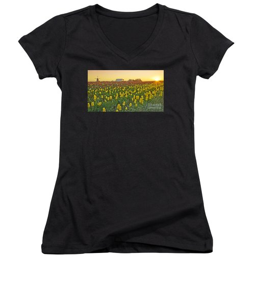 At The Crack Of Dawn Women's V-Neck T-Shirt (Junior Cut) by Nick  Boren