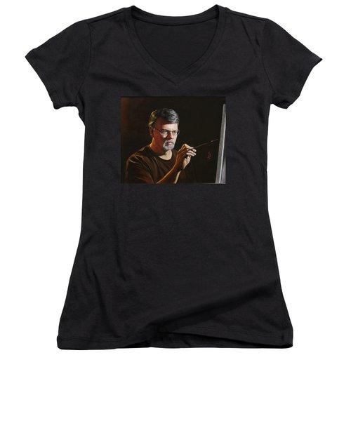 At The Easel Self Portrait Women's V-Neck T-Shirt