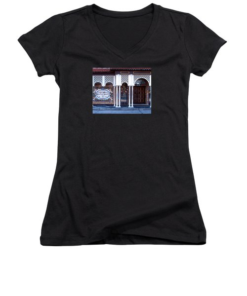 At The Entrance Women's V-Neck T-Shirt (Junior Cut) by Judy Wanamaker