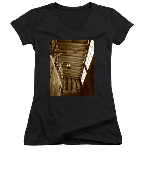 At The Museum - Sepia Women's V-Neck T-Shirt