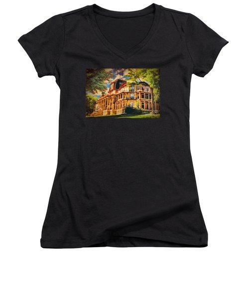 Athenaeum Hotel - Chautauqua Institute Women's V-Neck T-Shirt (Junior Cut) by Lianne Schneider