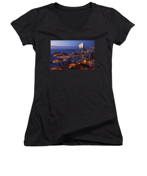 Atlantic City At Dawn Women's V-Neck (Athletic Fit)