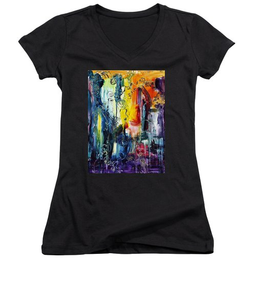 Atlantis Sinking Women's V-Neck T-Shirt (Junior Cut) by Regina Valluzzi