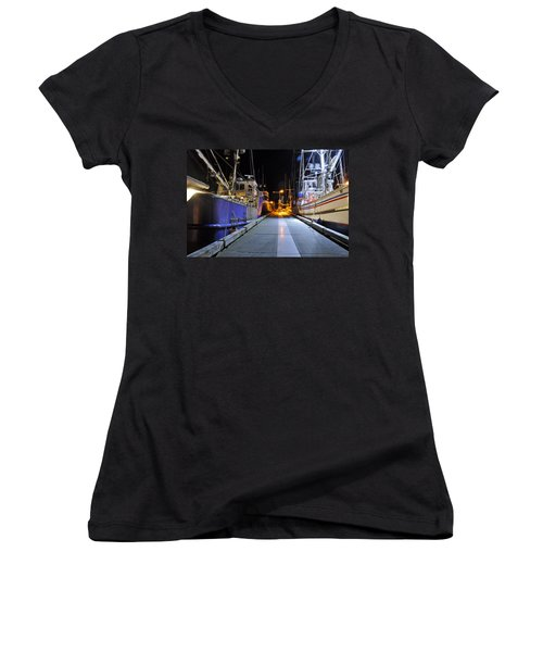 Women's V-Neck T-Shirt (Junior Cut) featuring the photograph Auke Bay By Night by Cathy Mahnke