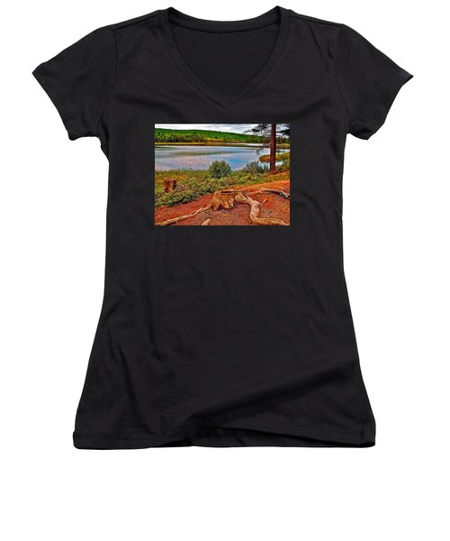Aunt Betty Pond In Acadia National Park-maine  Women's V-Neck T-Shirt (Junior Cut) by Ruth Hager