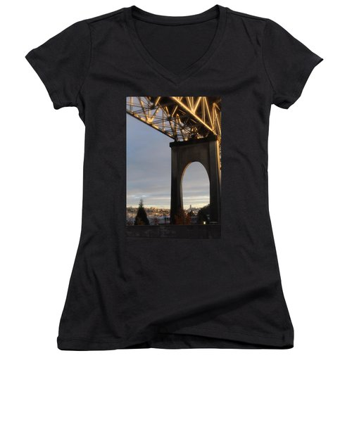 Aurora Bridge Seattle Washington  Women's V-Neck