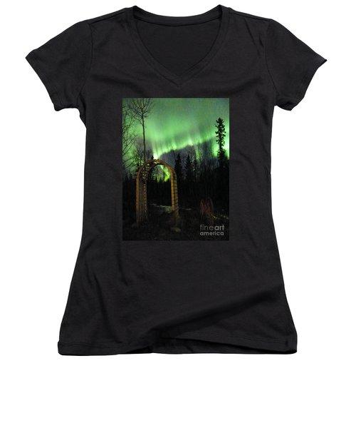 Auroral Arch Women's V-Neck T-Shirt (Junior Cut) by Brian Boyle