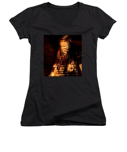Women's V-Neck T-Shirt (Junior Cut) featuring the photograph Aurous by Jessica Shelton