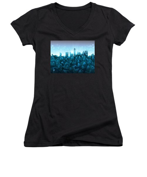 Austin Skyline Geometry 3 Women's V-Neck T-Shirt (Junior Cut) by Bekim Art