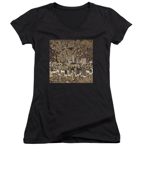Austin Texas Skyline 5 Women's V-Neck T-Shirt (Junior Cut) by Bekim Art