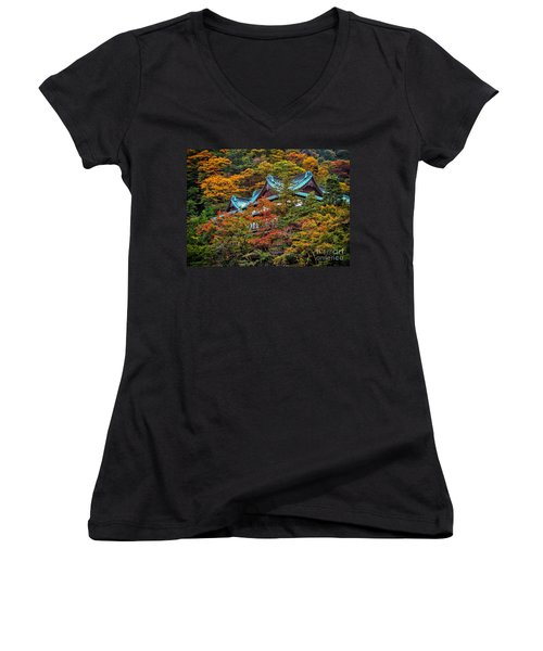 Autum In Japan Women's V-Neck (Athletic Fit)