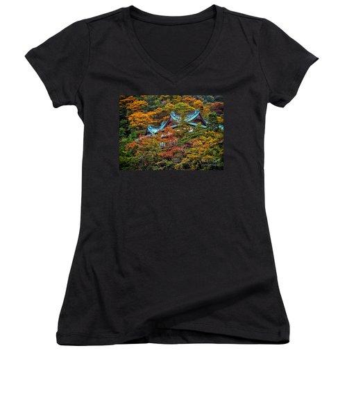 Autum In Japan Women's V-Neck T-Shirt (Junior Cut) by John Swartz