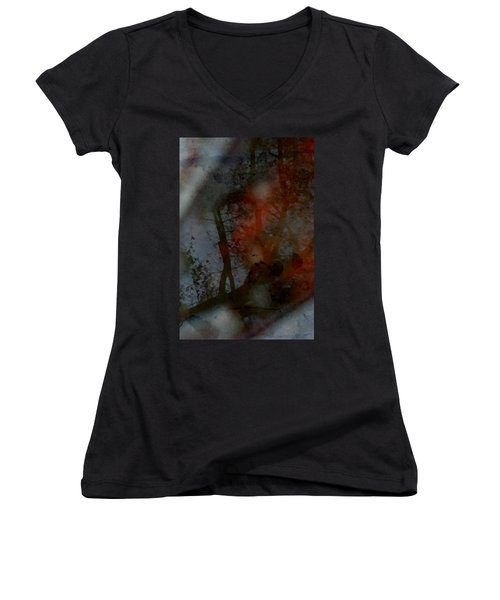 Women's V-Neck T-Shirt (Junior Cut) featuring the photograph Autumn Abstract by Photographic Arts And Design Studio